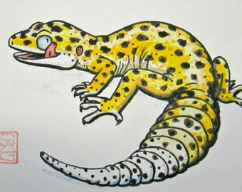 ACEO Leopard Gecko - Archival Print - Watercolor Lizard Art