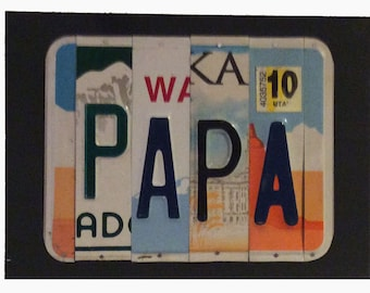 License Plate Sign License Plate letter Art Picture Home Deco PAPA License Plate Letter Sign License Plate Art grandpa