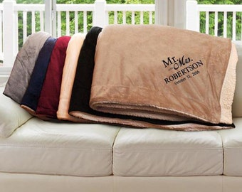 Embroidered Mr & Mrs Wedding Sherpa, gift, blanket, anniversary, couple, love, custom, throw blanket, marriage, stitched  -gfyE10429184X