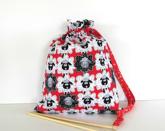 Sheep Knitting Bag, Crochet Bag, Drawstring Yarn Storage, Socks Bag