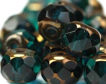 Czech Glass Beads Fire Polished Gemstone Donuts 4x6mm Copper Emerald (25) CZF349