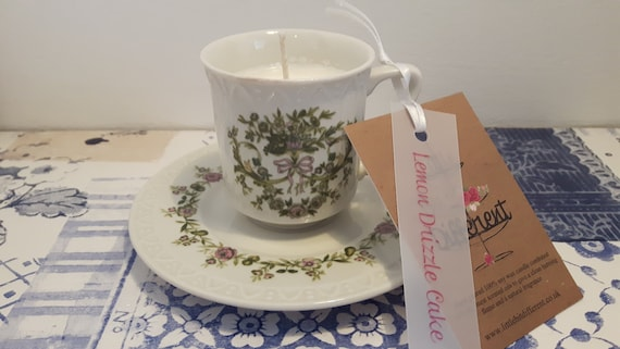 Tea cup candle. Scented soy wax vegan vintage tea cup candle, with rhubarb and blackberry.  Vegan candles. Organic soy. Made in Wales