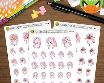 Positive Pastel Kawaii Girls - Happy Love Celebrate Pink - Planner Stickers (K0104)