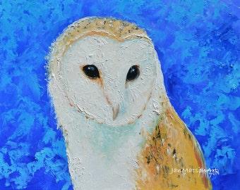 Owl art, Owl decor, bird painting, Barn Owl, Etsy nursery wall art, animal art, childrens room art, kids room art, by Jan Matson