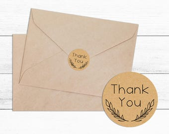 Thank You Envelope Kraft Sticker Seal- Wedding, Wedding Sticker, Envelope Seal, Bridal Shower, Favour Box