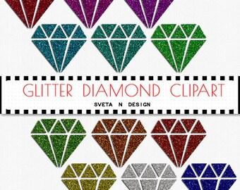 Glitter DIAMONDS Digital Clipart 12 psc PNG - Instant Download {glitter clipart, clip art, digital diamonds, diamonds clipart}
