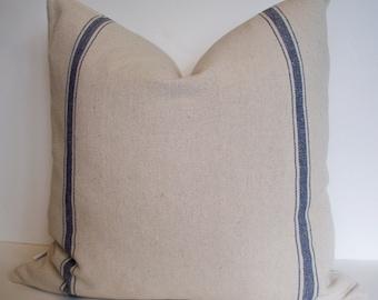 Blue Grainsack Pillow Cover, Blue Stripe Grainsack Pillow Blue Farmhouse Pillow French Country Pillow 0