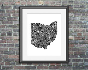 Ohio typography map art unframed print customizable personalized state poster custom wall decor engagement wedding housewarming gift