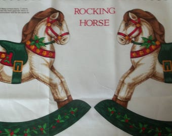 Rocking Horse Christmas Appliques Fabric Panel - 1/2 Yard