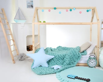 Toddler bed House bed Tent bed Wooden house Wood house Wood bed frame Play bed Nursery bed Montessori bed Kids teepee bed Wood house bed