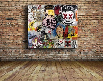 Banksy Multi Artist Street art Collage Graffiti 24 x 24 Canvas Print Brainwash