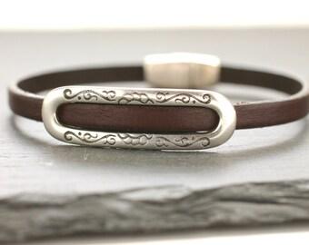Leather Bracelet Leather Bangle Silver Bracelet Cowgirl Bangle Gift For Her Jewelry Under 50 Brown Bangle Skinny Bracelet Thin Bangle