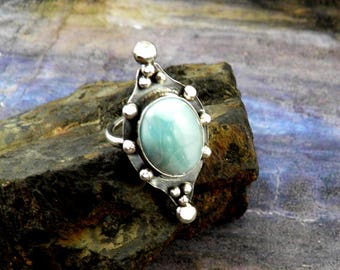 Larimar ring, boho ring, sterling silver ring, one of a kind ring, blue stone ring, gypsy ring, girlfriend gift, statement ring