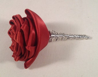 Persimmon Satin Rose Boutonniere accented with Silver Wire
