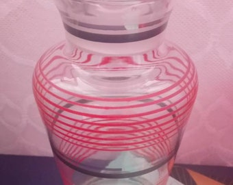 Art deco glass decanter, banded, vintage decanter, red black and silver bands
