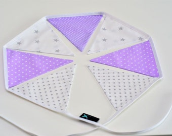 Bunting Garland Fabric Flags Pennants : Violet, Grey, White