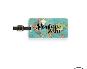 Luggage Tag Adventure Awaits Vintage Map Metal Luggage Tag With Printed Custom Info On Back Single Tag