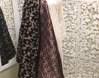 Maroon velvet embroidery shawl
