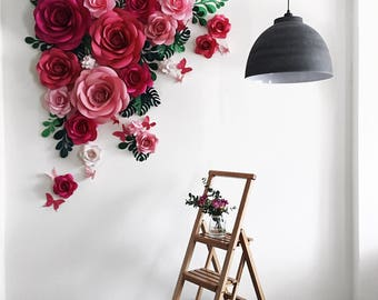 Giant paper flowers wall paper flower wall wedding wall paper flower backdrop paper flower arch paper floral arramgement paper leaves backdrop mightylinksfo Gallery
