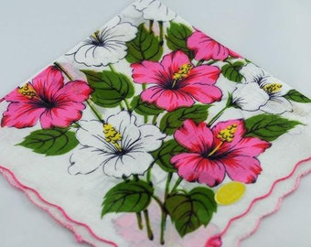 Vintage Hankie Pink and White Floral  R-21