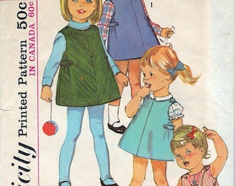 """Vintage 1965 Simplicity 6158 Toddlers' Dress Or Jumper & Blouse Sewing Pattern Size 1 Breast 19"""" UNCUT"""