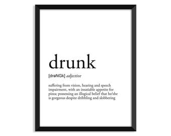 Drunk definition, art poster, dictionary art print, office decor, minimalist poster, funny definition print, definition poster