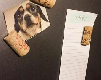 Upcycled Wine Cork Magnets - Set of 6 / Gift for her / Stocking stuffer / Wine lover gift / Gift basket idea / Hostess Gift / Gift for mom