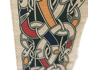 "Vintage Mid Century Celtic Snake Knot Fabric Textile Panel Wall Decor 32""x9"", Printed Celtic Nordic Viking Snake Knot Symbol Wall Panel"