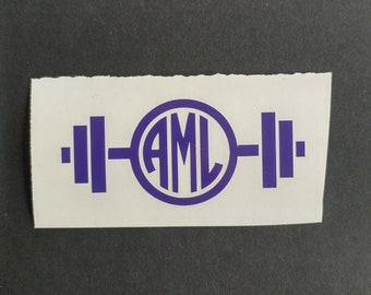 Monogram Barbell Decal, Barbell Vinyl Decal, Custom Decal, Car Decal, Yeti Decal, Vinyl Sticker
