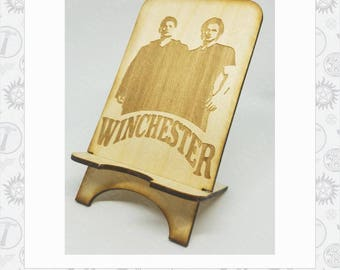 Supernatural Inspired Winchester Phone Stand Laser engraved Wood