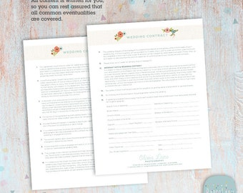 Wedding Photography Contract Template - Photoshop Download -  NG025 - INSTANT Download
