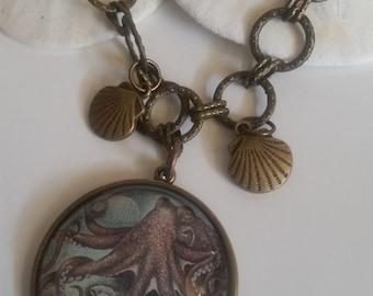 OOAK Octopus, Kraken, Pendant Metal Bronze Chain Necklace