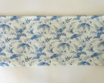 BLUE Floral Window Valance/Kitchen/Bedroom/Bath/Straight/Curved-LINED-Valance, Cotton Linen Fabric/Light Blue/Off White/Floral/Spring/Summer