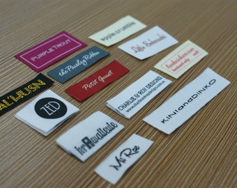 600 Custom Text Only Taffeta Clothing Woven Labels free font styles colors never fade professional quality free design service and shipping