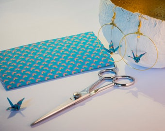 Cranes origami earrings blue Rainbow patterns in Golden hoops