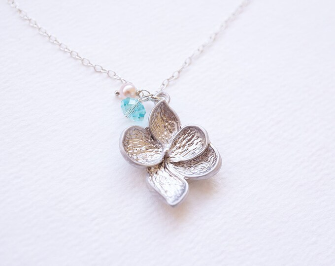 Featured listing image: Necklace, Silver Necklace, Flower Necklace, Crystal Necklace, Pearl Necklace, Turquoise Necklace, Swarovski Necklace, Gift for Her, Gift