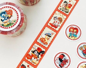 25mm THICK Vintage Adhesive Masking Tapes Vintage Retro Tape Red Animals - 10 metres long