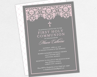 First Communion Invitation, First Holy Communion Invitation, Religious, Print, PDF, DIY Communion Invitation, Floral, Damask, Pink, Maura