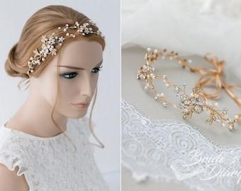 Birdal hairpiece, vintage hair vine, wedding hair jewelry, golden oder silvery
