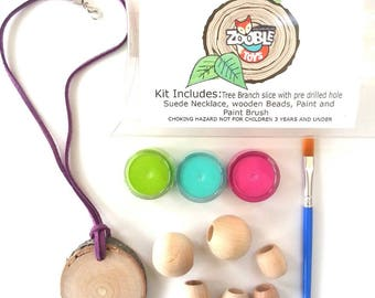 Spring Craft Tree Ring Necklace Kit - Nature Art Craft Kit - Kids Craft Kit - Wooden Beeds Necklace DIY For Kids