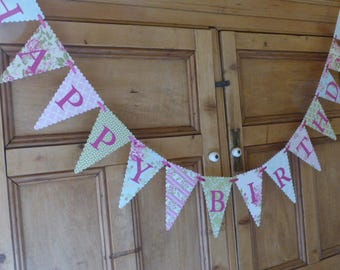 Happy Birthday Banner - Tea Party Bunting - Pink, Green, Blue, Floral