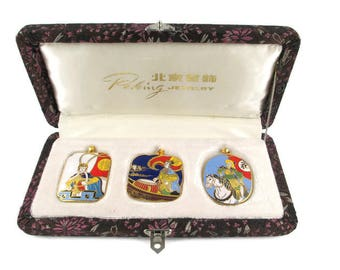3 Chinese Opera Cloisonne  Pendants/ Peking Jewelry Company /Beijing Arts Set/ Korvettes Oriental Enamel Stock/Silk Road Brown Brocade Box