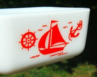 Vintage McKee Red Ships Small Refrigerator Dish