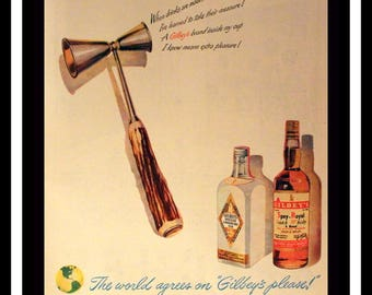 1948 Gilbey's Gin and Whiskey Ad w Double Jigger - Wall Art - Home Decor - 40s Style - Retro Vintage Beer & Liquor Advertising
