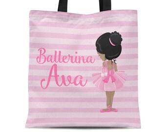Kids Ballerina Tote Bag - Pink Ballet Dance Bag, Pink Stripe Ballet Dancer Personalized Tote Bag, You Pick Girl - Kids Personalized Gift Bag