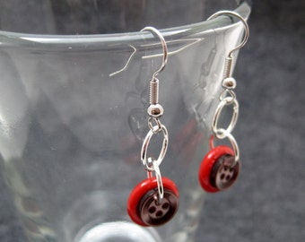 Button Dangle Earrings - Red/Brown by randomcreative on Etsy