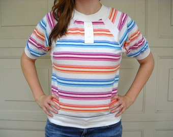 80s Candy Striped top // vintage