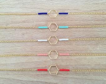 Minimalist Hexagon geometric gold fine gold bracelet