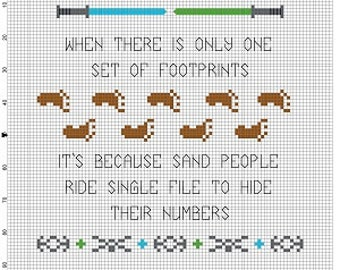 When there is only one set of footprints..... sand people  -   Cross Stitch Pattern - Instant Download