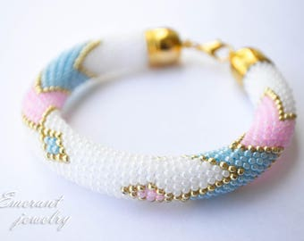 Pink and blue Pastel bracelet Seed bead bracelet Statement jewelry Dainty bracelet White Elegant seed bead bangle birthday gifts for her 20